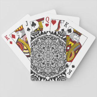 Black and white mandala pattern playing cards