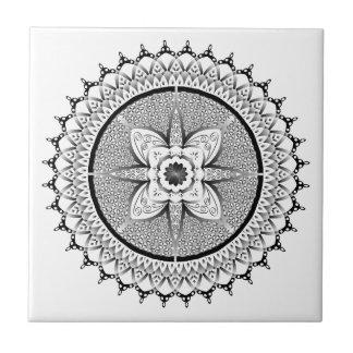 Black and white mandala tile