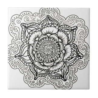 Black and White Mandala Tile