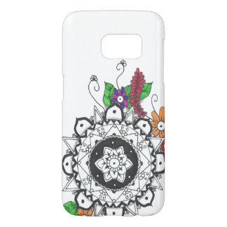 Black and White Mandala with Colorful Flowers Samsung Galaxy S7 Case