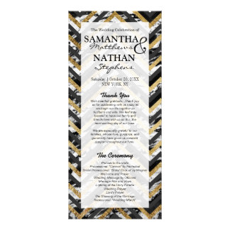 Black and White Marble and Gold Chevron Zigzag Rack Card