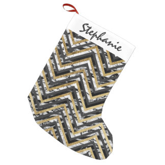 Black and White Marble and Gold Chevron Zigzag Small Christmas Stocking