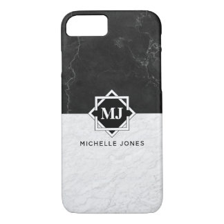 Black and White Marble Monogram iPhone 8/7 Case