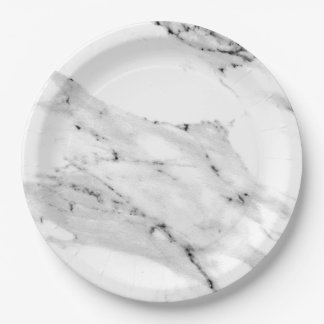 Black and White Marble Paper Plate