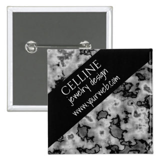 Black and White Marble Slanted Edge 2 Inch Square Button