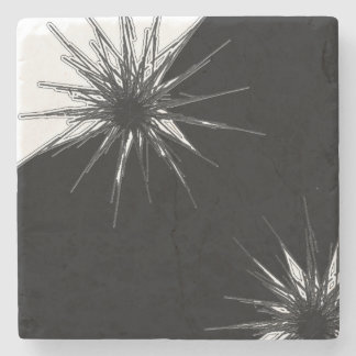 Black and White Marble Stone Flower Burst Coaster Stone Beverage Coaster