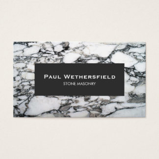 Black and White Marble Stonemason Architect Business Card
