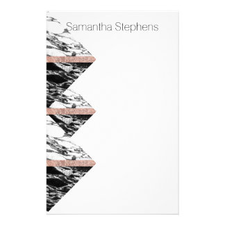 Black and White Marble Triangles and Rose Gold Stationery