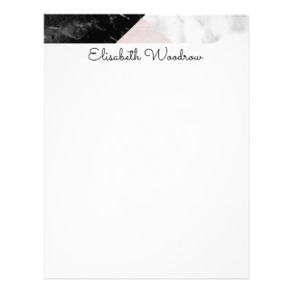 Black and White Marble with Pink Silk Geometric Letterhead