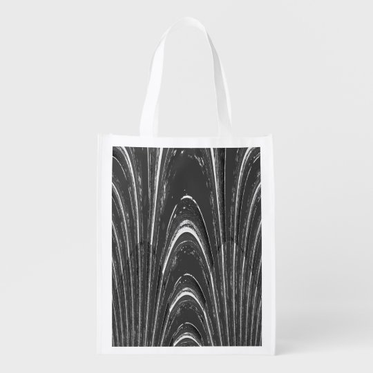 Black and White Marbled Reusable Grocery Bag