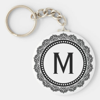 Black And White Medallion Custom Initial Basic Round Button Keychain