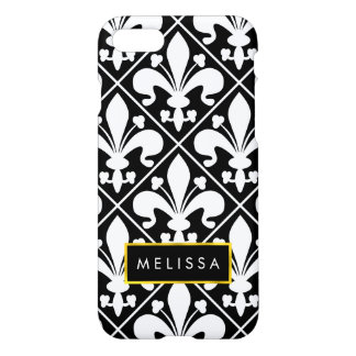 Black and White Medieval French Fleur de Lys iPhone 7 Case