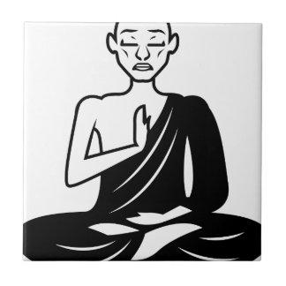 Black and White Meditating Monk Tile