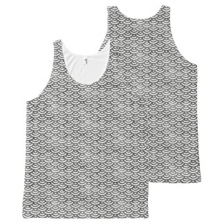 Black and White Mermaid Pastel Pattern All-Over-Print Tank Top