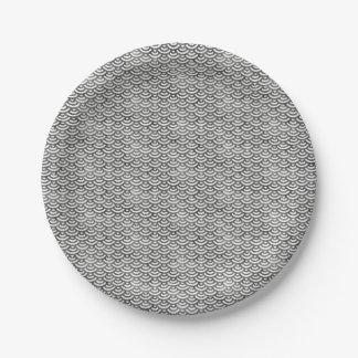 Black and White Mermaid Pastel Pattern Paper Plate
