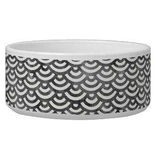 Black and White Mermaid Pastel Pattern Pet Food Bowls