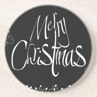 Black and White Merry Christmas Coaster