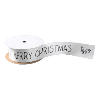Black and White Merry Christmas Gift Ribbon Satin Ribbon