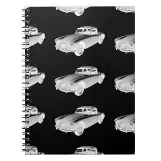 Black and White MG Convertible Sports Car Notebooks