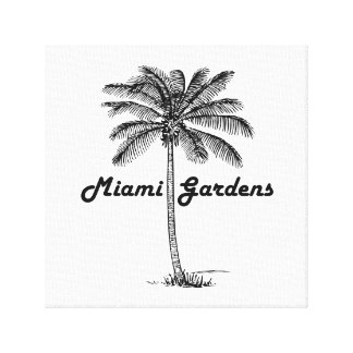 Black and White Miami Gardens & Palm design Canvas Print