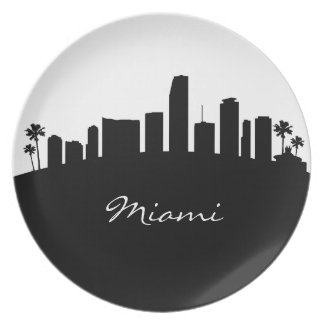 Black and White Miami Skyline Party Plates