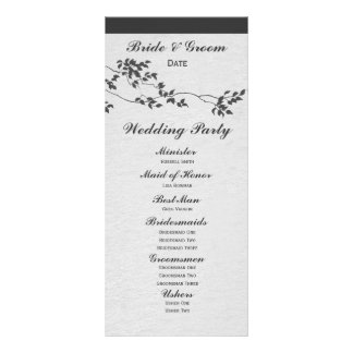 Black and White Minimalist Birds Wedding Program Rack Card