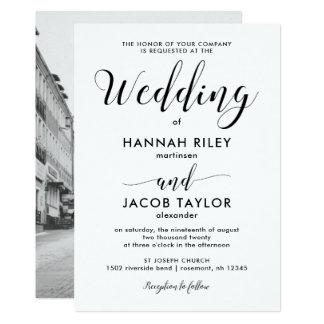 Black and White Minimalist Photo Wedding Card