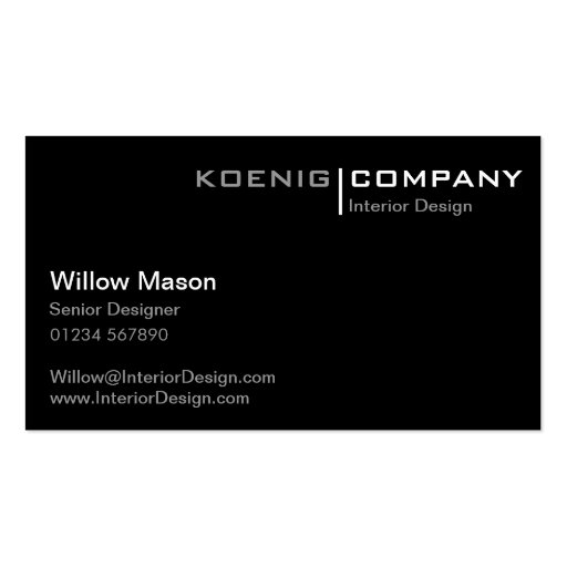 Black and White Minimalistic Business Card Business Card
