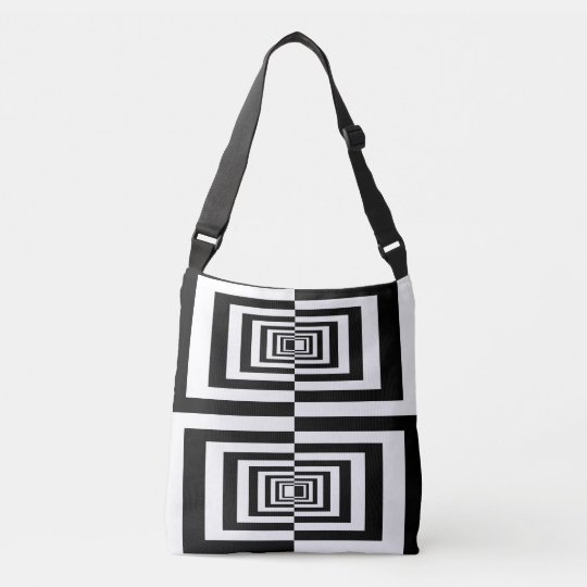 Black And White Minimalistic Modern Geometric Crossbody Bag