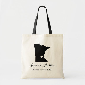 Black and White Minnesota Wedding Welcome Tote Bag