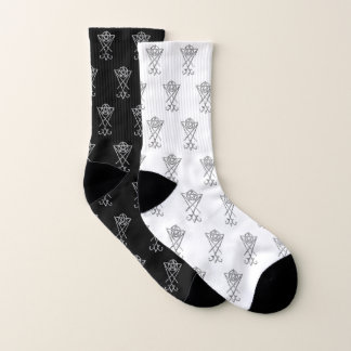Black and White Mismatched Lucifer Symbol Socks 1