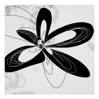 Black and White Mod Flower - - Poster