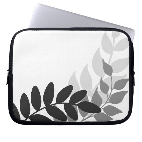 Black and White Mod Vines Laptop Sleeve