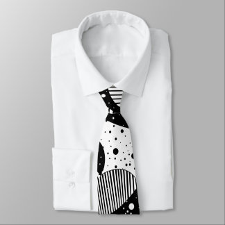 Black And White Modern Abstract Geometric Art Tie