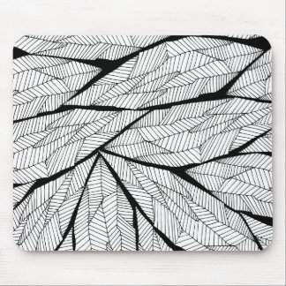 Black and White Modern Abstract Geometric Leaves Mouse Pad