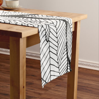 Black and White Modern Abstract Geometric Leaves Short Table Runner
