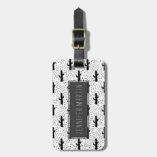 Black and White Modern Cactus and Triangle Geo Luggage Tag