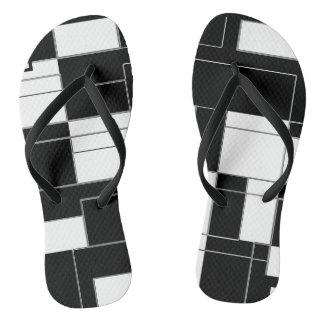 Black and White Modern Checkered Slim Flip Flops