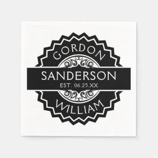Black and White Modern Custom Wedding Seal | Disposable Napkin