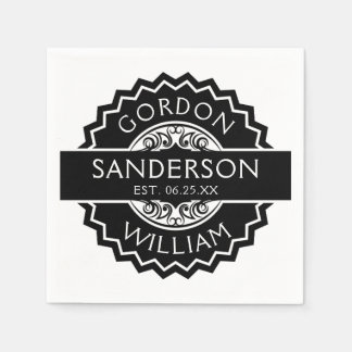 Black and White Modern Custom Wedding Seal | Napkin