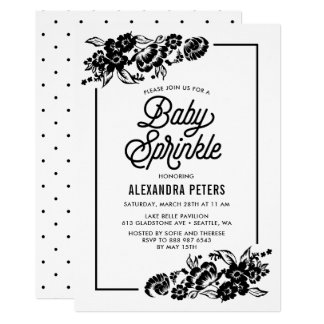 Black and White Modern Floral Accent Baby Sprinkle Card