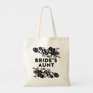 Black and White Modern Floral Accent Bride's Aunt Tote Bag