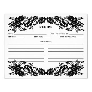 Black and White Modern Floral Accent Recipe Card