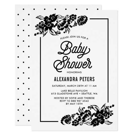 Black and White Modern Floral Accents Baby Shower Card