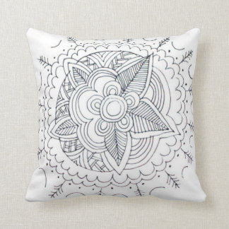 Black And White Modern Floral Line Art Pillows