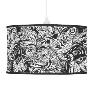 Black and White Modern Floral Paisley Pattern Pendant Lamp