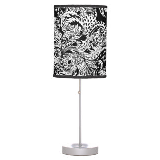 Black and White Modern Floral Paisley Pattern Table Lamp
