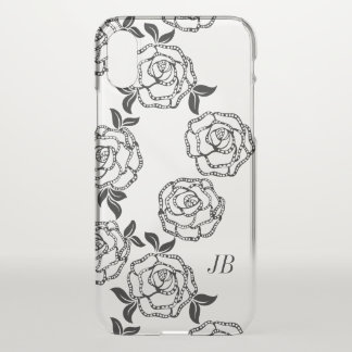 Black And White Modern Flowers Personalized iPhone X Case
