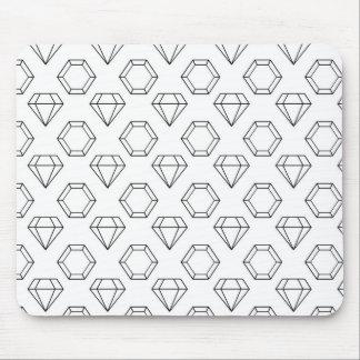Black and White Modern Gemstone Pattern Mouse Pad