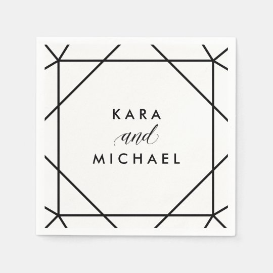 Black and White Modern Geometric Wedding Paper Napkin